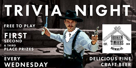 Free Trivia!  Wednesdays at Broken Timbers Brewing Co. @7pm tickets