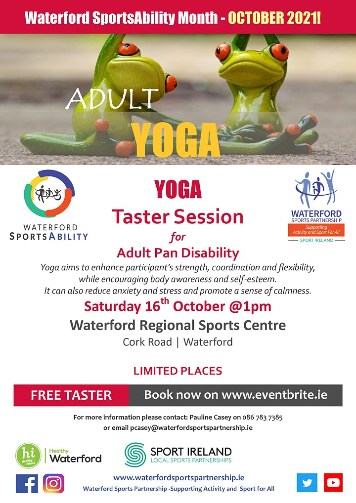 Waterford SportsAbility - Yoga  Adults with  Disability Sat 16th Oct 2021 image
