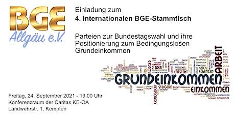 """4. Internationaler BGE-Stammtisch: """"Du bist der GRUND für ein EINKOMMEN"""" Tickets"""