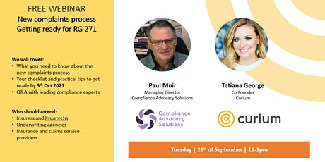 Webinar - New complaints process Getting ready for RG 271 tickets