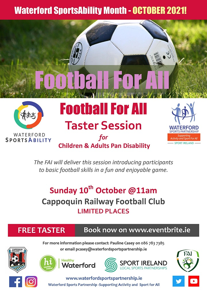 Waterford SportsAbility - Football for All Sunday 10th October image