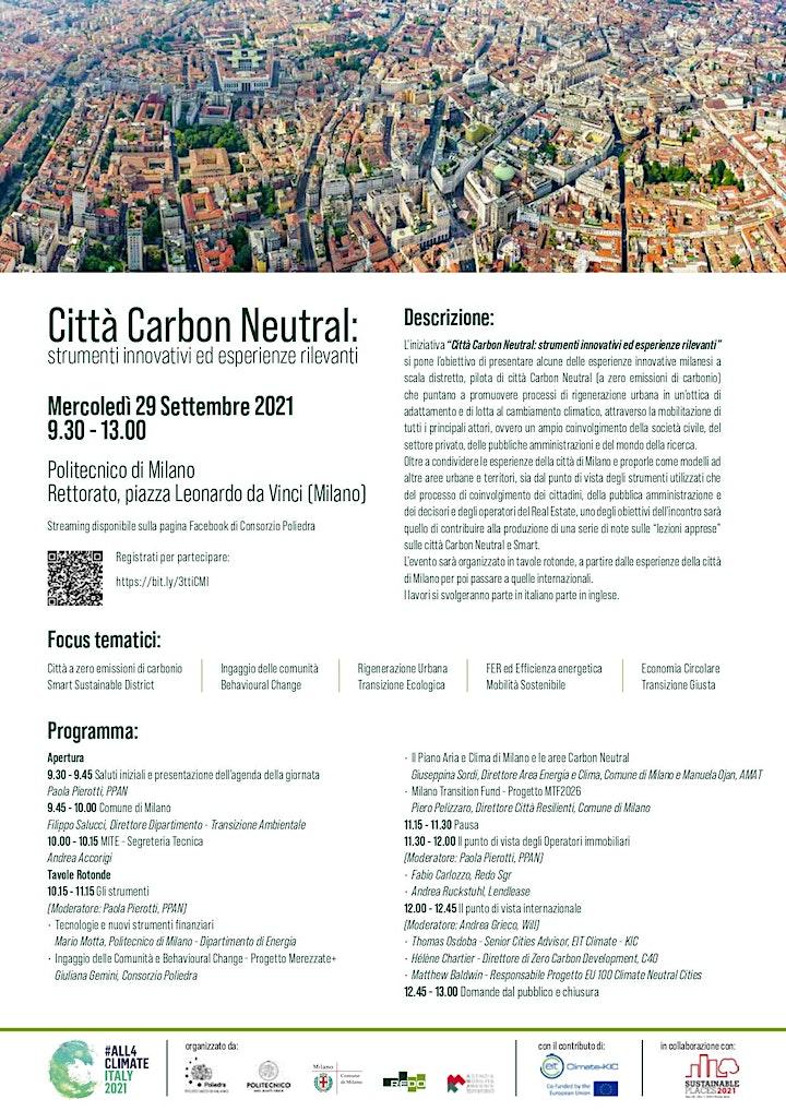 Immagine Città Carbon Neutral: strumenti innovativi ed esperienze rilevanti