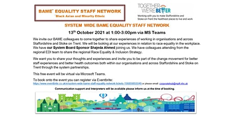 System wide BAME Staff Equality Network tickets