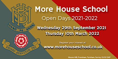 Copy of More House School, Frensham - Open Day 29th September PM session tickets