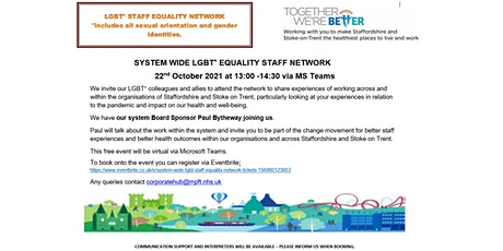System wide LGBT+ Staff Equality Network tickets