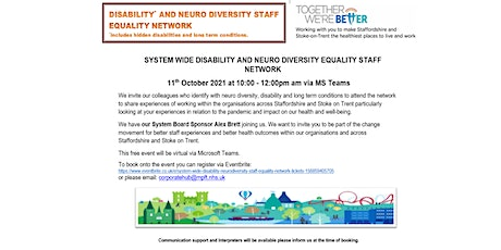 System wide Disability & Neurodiversity Staff Equality Network tickets