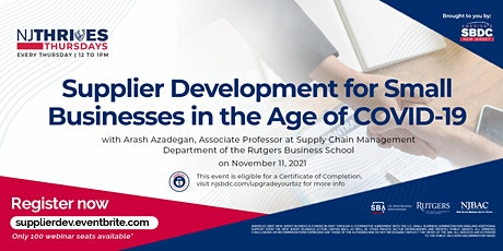 Supplier Development for Small Businesses in the Age of COVID-19 tickets
