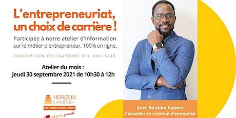 L'entrepreneuriat, un choix de carrière billets