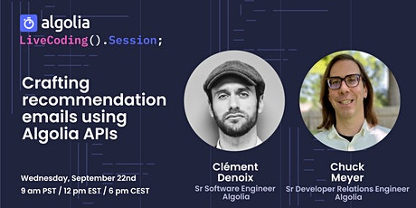 Live Coding - Crafting recommendation emails using multiple Algolia APIS tickets