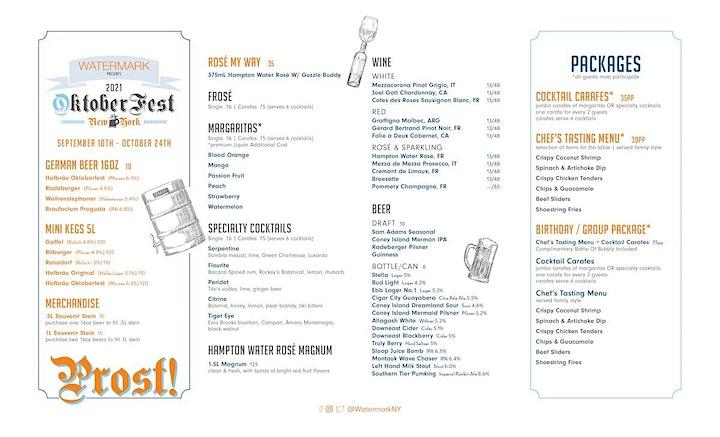 MONDAY-THURSDAY: OktoberFest NYC 2021 at WATERMARK - Prost!! image