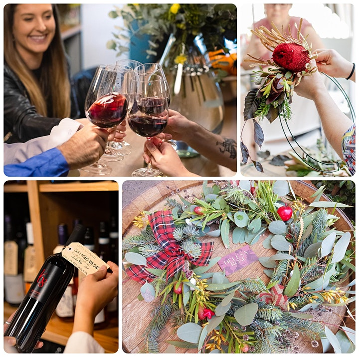 Wine Tasting and Christmas Wreath Workshop image