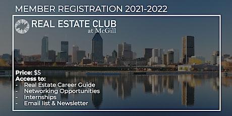 Real Estate Club at McGill 2021-2022 Membership tickets