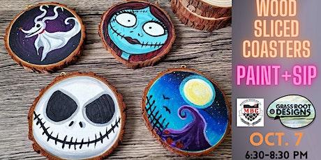 Wood Sliced Coasters| Paint + Sip [Nightmare B4 Christmas] tickets