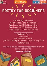 Poetry for Beginners – 55+ tickets