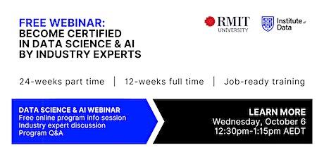 Webinar - Data Science & AI Program Online Info Session: 12:30pm - Oct 6 tickets