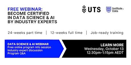 Webinar - Data Science & AI Program - Online Info Session: 12:30pm - Oct 13 tickets
