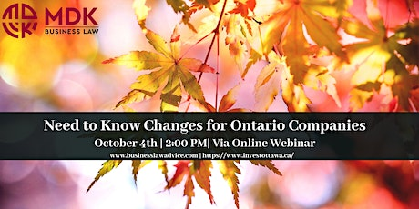 Need to Know Changes for Ontario Companies tickets