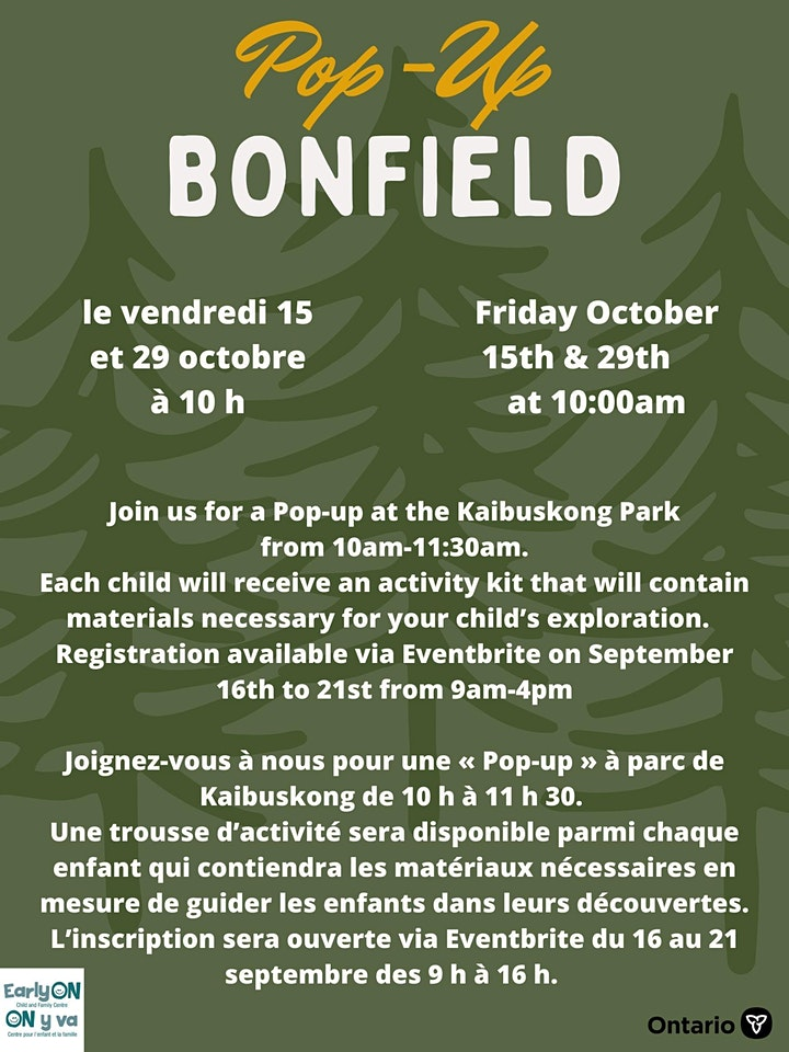 Bonfield Pop-up - In-person 0 - 6 yrs. image