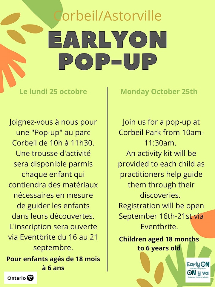 Corbeil/Astorville Pop-up - In-person  ages  0  - 6 yrs. image