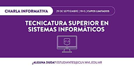 Charla informativa online Tecnicatura Superior en Sistemas Informáticos entradas