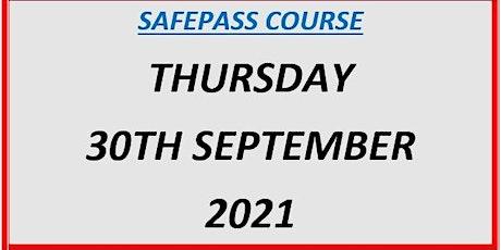 SafePass Course:  Thursday 30th September 2021 €165 tickets