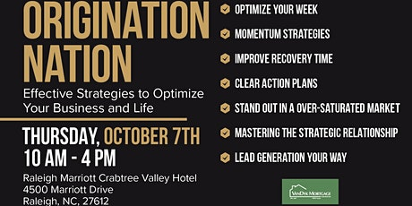 Origination Nation- Effective Strategies to Optimize Your Business and Life tickets