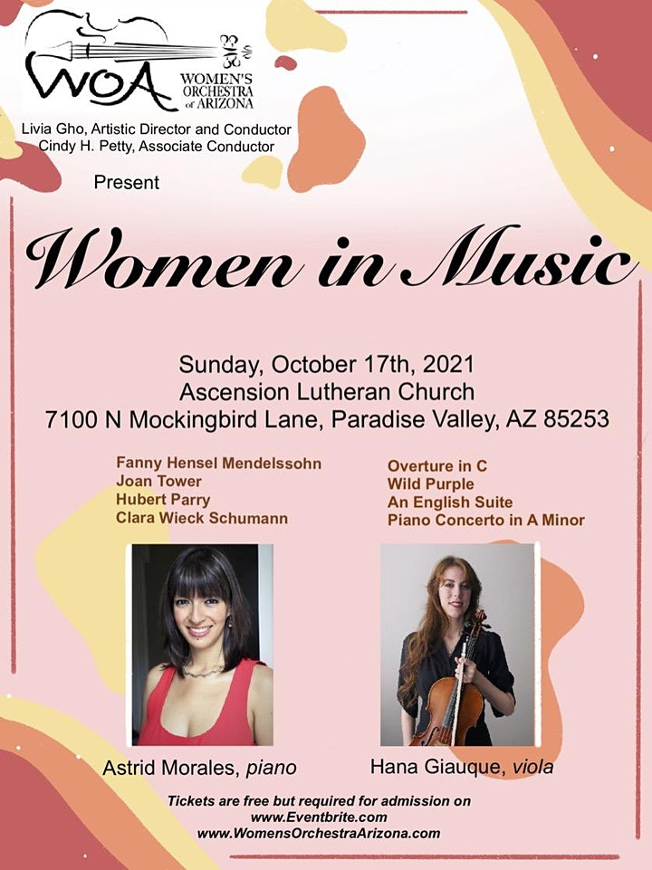"""Women's Orchestra of Arizona presents; """"Women in Music"""", on Oct 17 2021. image"""