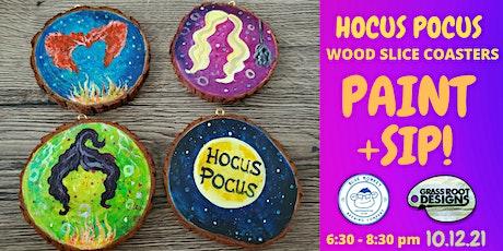 Hocus Pocus Wooden Coasters | Paint + Sip tickets