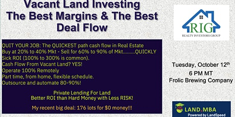 Realty Investors Group (RIG) October Meeting -  Vacant Land Investing tickets