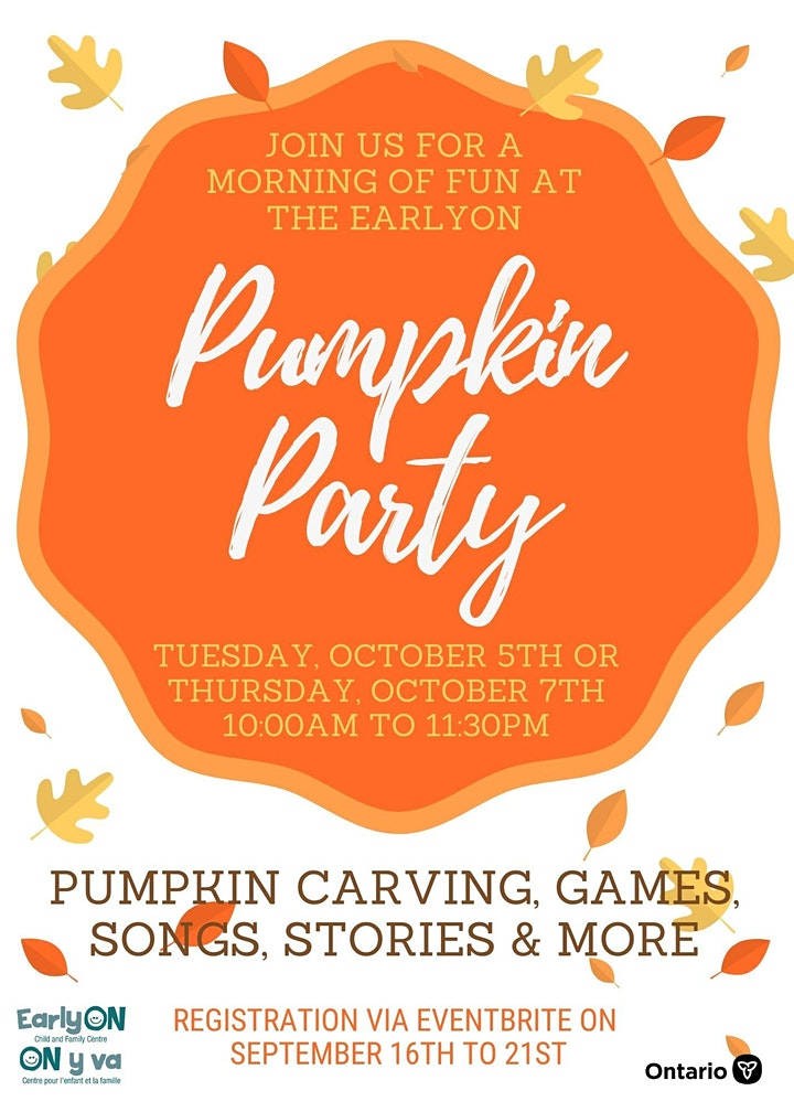 Thursday EarlyON Pumpkin Party - In-Person All ages image