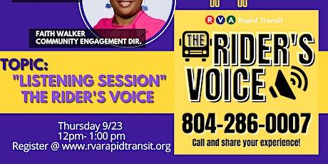 "Transit Talk: ""Listening Session"" The Rider's Voice billets"