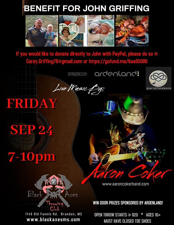 BABY JOHN GRIFFING BENEFIT Hosted by Aaron Coker & Black Axes Brandon! image