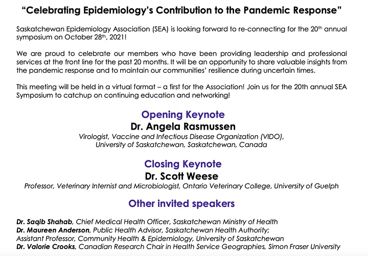 Saskatchewan Epidemiology Association's 20th Annual Symposium image