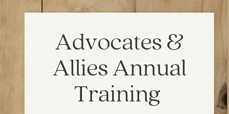 Advocates and Allies Training tickets