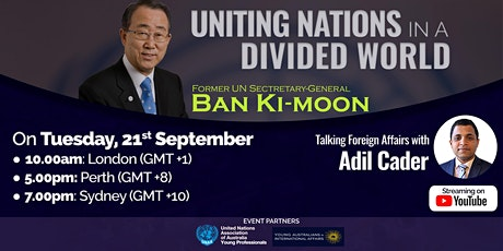 Ban Ki-moon in discussion with Adil Cader: Uniting Nations tickets