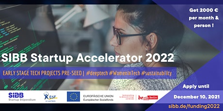 SIBB Accelerator: pre-seed funding for your early stage tech startup Tickets