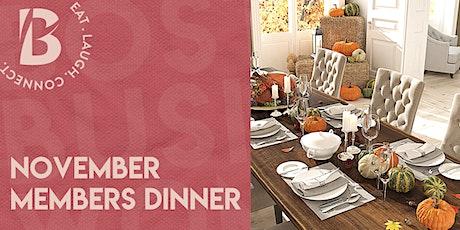 November Members Only Dinner tickets