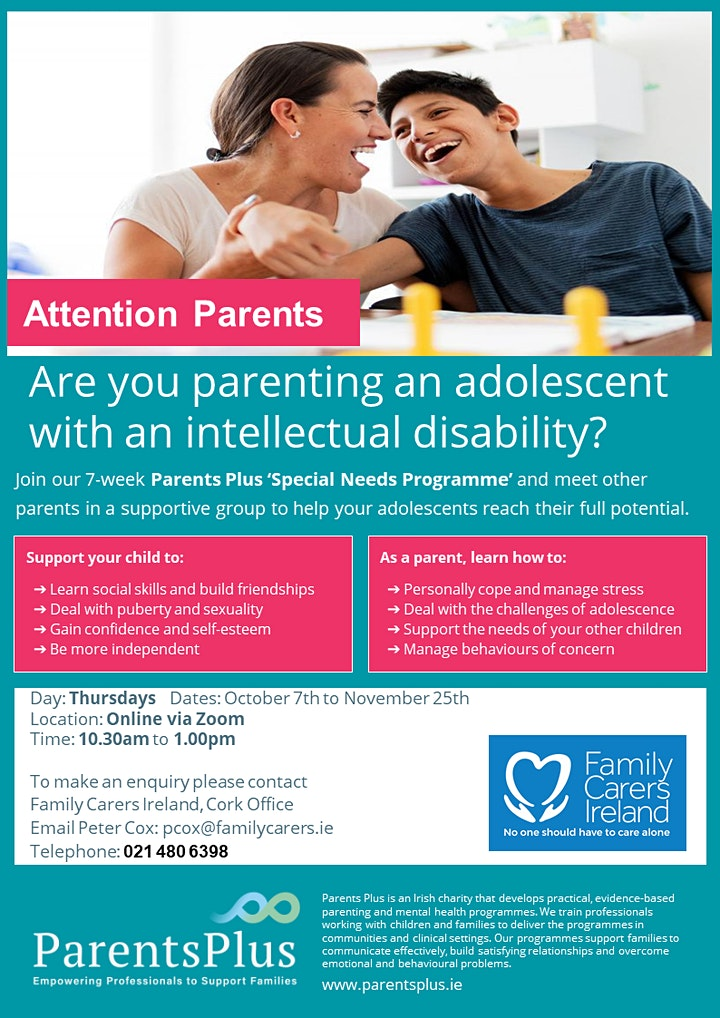 Parents Plus  Special Needs Programme-for parents of adolescents image