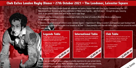 Clwb Exiles Rugby Legends Dinner tickets