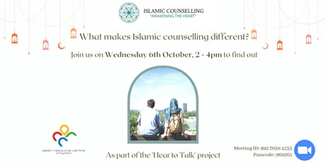 What makes Islamic counselling different? Join us on 6th Oct to find out. tickets