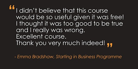 Starting in Business | 3 day online programme tickets