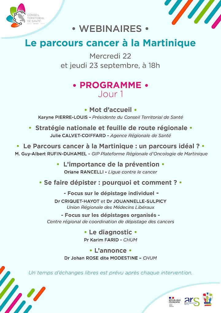 """Image pour Webinaires """"Parcours cancer à la Martinique"""" - 22 et 23 septembre à 18h"""