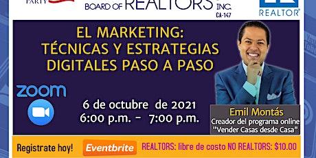 """El Marketing: """"Técnicas y Estrategias Digitales Paso a Paso"""" tickets"""