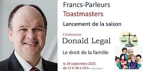 Toastmasters - Lancement de saison avec orateur invité Donald Legal billets