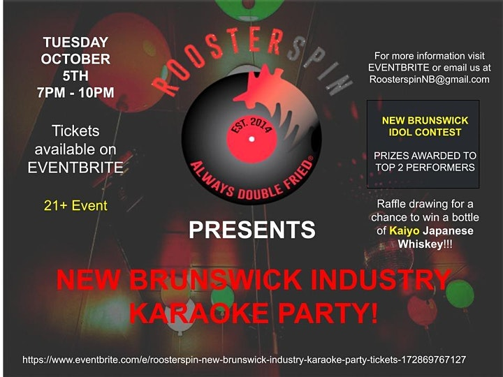 ROOSTERSPIN: NEW BRUNSWICK INDUSTRY KARAOKE PARTY image