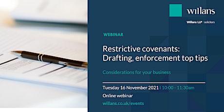 Restrictive covenants: drafting & enforcement top tips (webinar) tickets