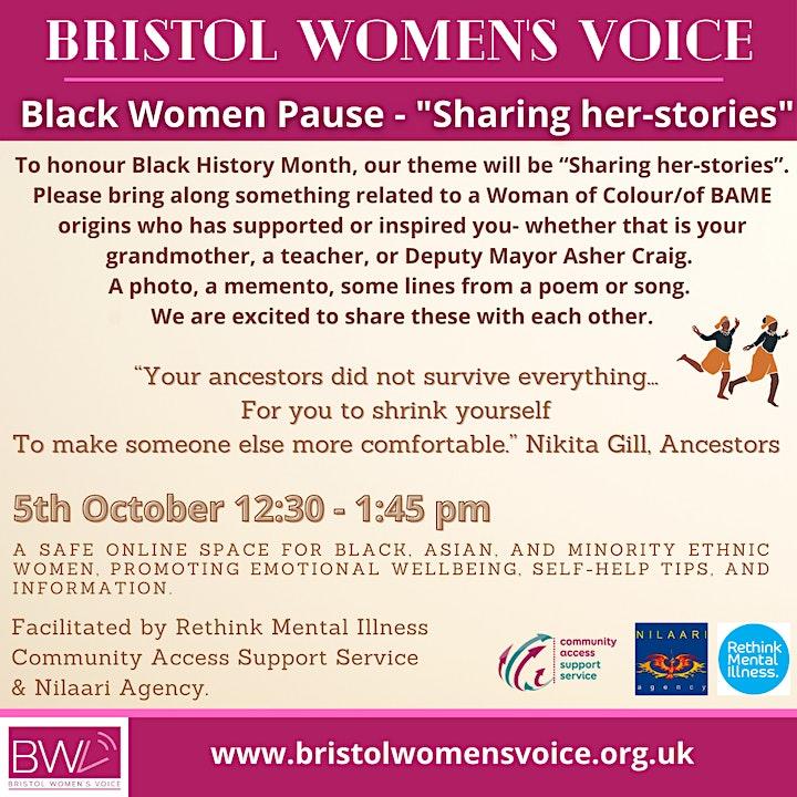 "Black Women Pause - ""Sharing her-stories"" image"