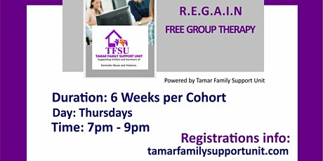 REGAIN Funded  Group Therapy - only registration fee is required tickets