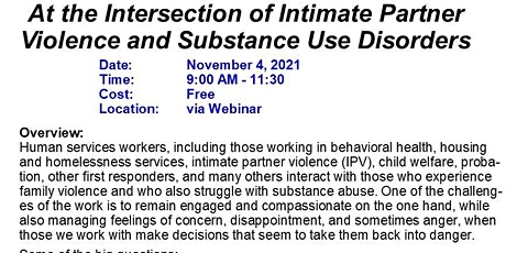 At the Intersection of Intimate Partner Violence and Substance Use Disorder tickets
