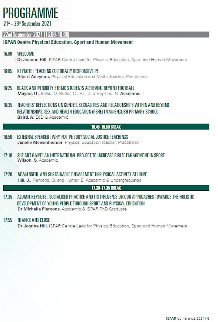 ISPAR Conference 2021 - 'Improvement through Movement' image